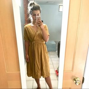 UO linen wrap midi dress